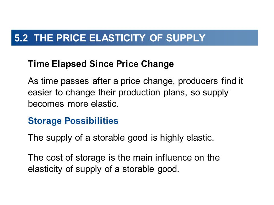 5.2 THE PRICE ELASTICITY OF SUPPLY Time Elapsed Since Price Change As time passes after a price change, producers find it easier to change their produ