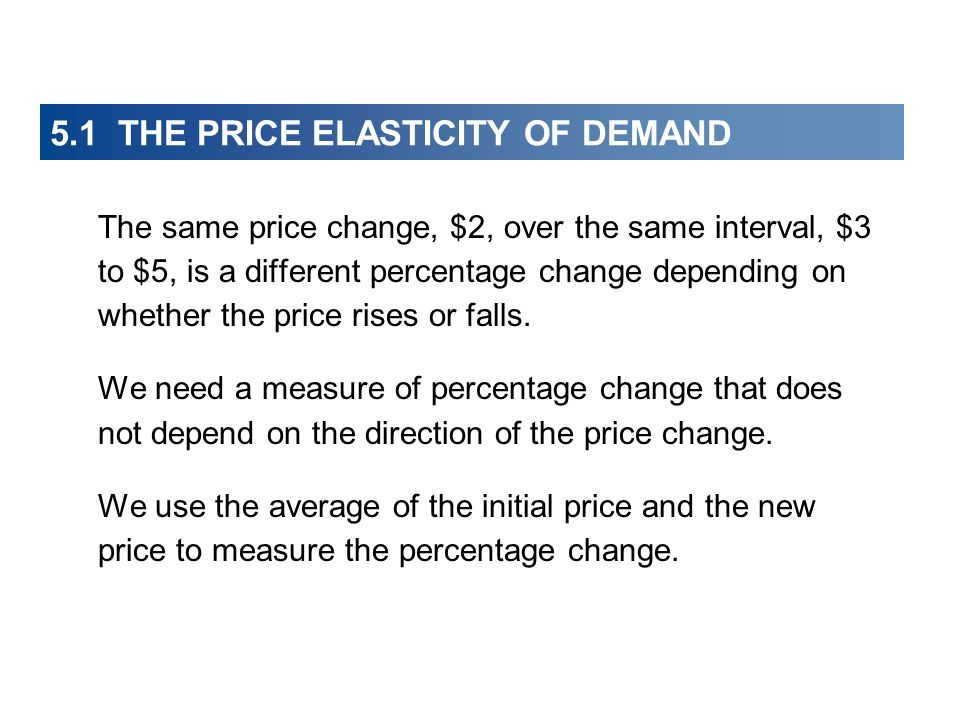 5.1 THE PRICE ELASTICITY OF DEMAND The same price change, $2, over the same interval, $3 to $5, is a different percentage change depending on whether