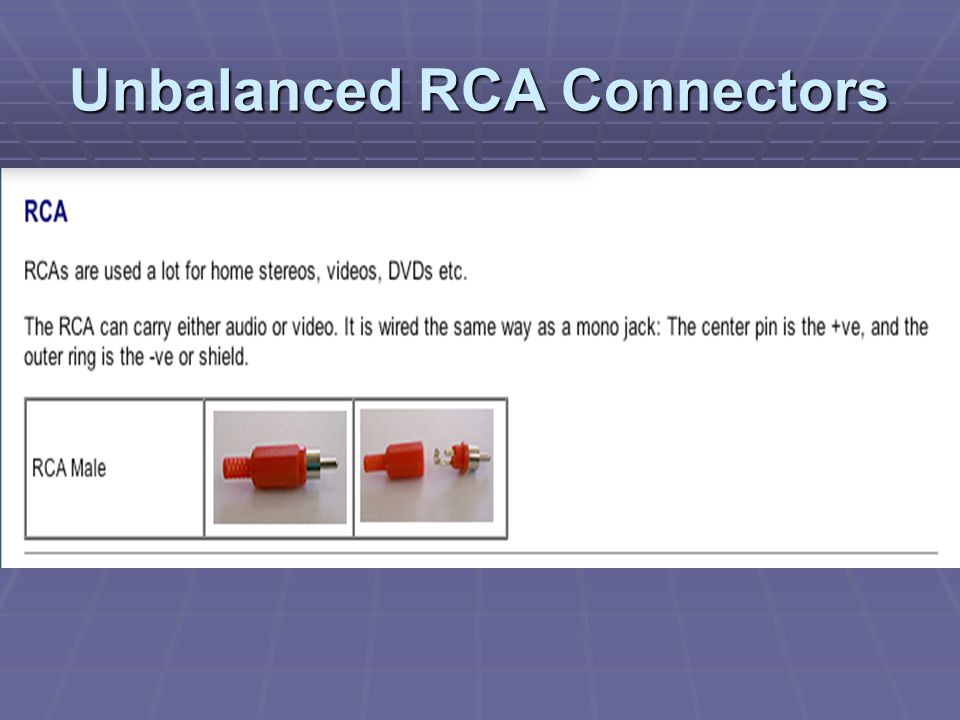 Unbalanced RCA Connectors