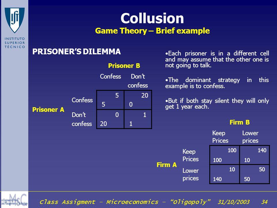 Class Assigment – Microeconomics – Oligopoly 31/10/2003 34 Collusion Game Theory – Brief example Prisoner B ConfessDont confess Prisoner A Confess 5 5