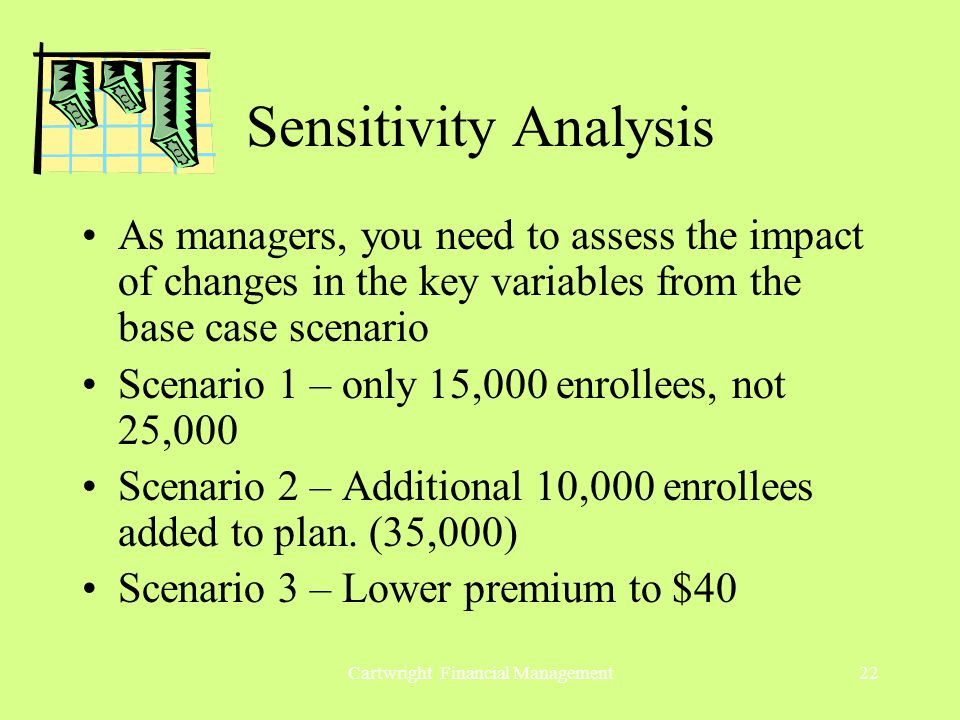 Cartwright Financial Management22 Sensitivity Analysis As managers, you need to assess the impact of changes in the key variables from the base case scenario Scenario 1 – only 15,000 enrollees, not 25,000 Scenario 2 – Additional 10,000 enrollees added to plan.