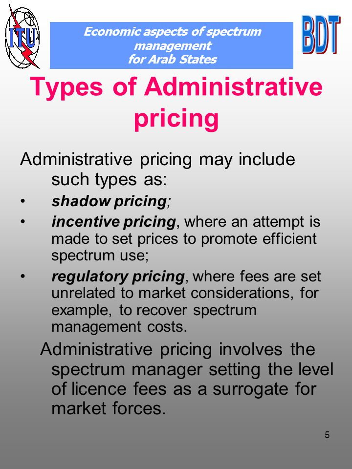Pricing proposals for fixed service applications Economic aspects of spectrum management for Arab States Fixed link licence fee Spectr um Price Band Width Factor Band Factor Path Length Factor Availabi lity Factor Antenn a Factor Sharin g Factor Source: An Economic Study to review Spectrum pricing / Aegis,Warwic businesss school-2004