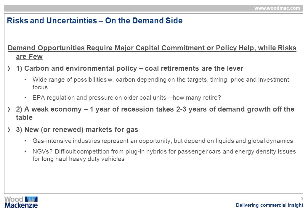Delivering commercial insight www.woodmac.com 3 Risks and Uncertainties – On the Demand Side Demand Opportunities Require Major Capital Commitment or