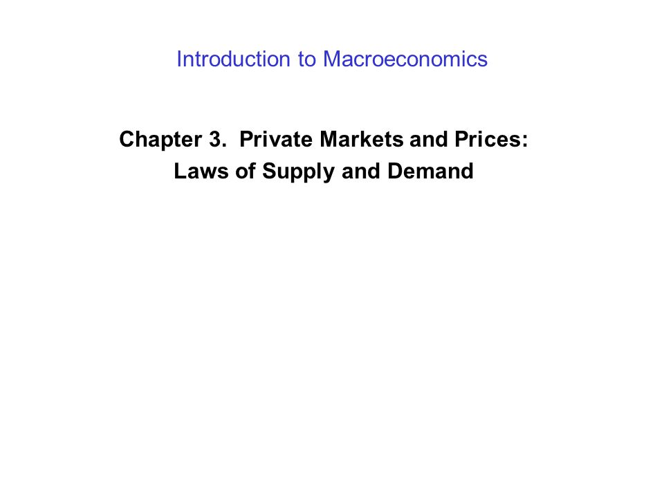 Introduction to Macroeconomics Chapter 3. Private Markets and Prices: Laws of Supply and Demand