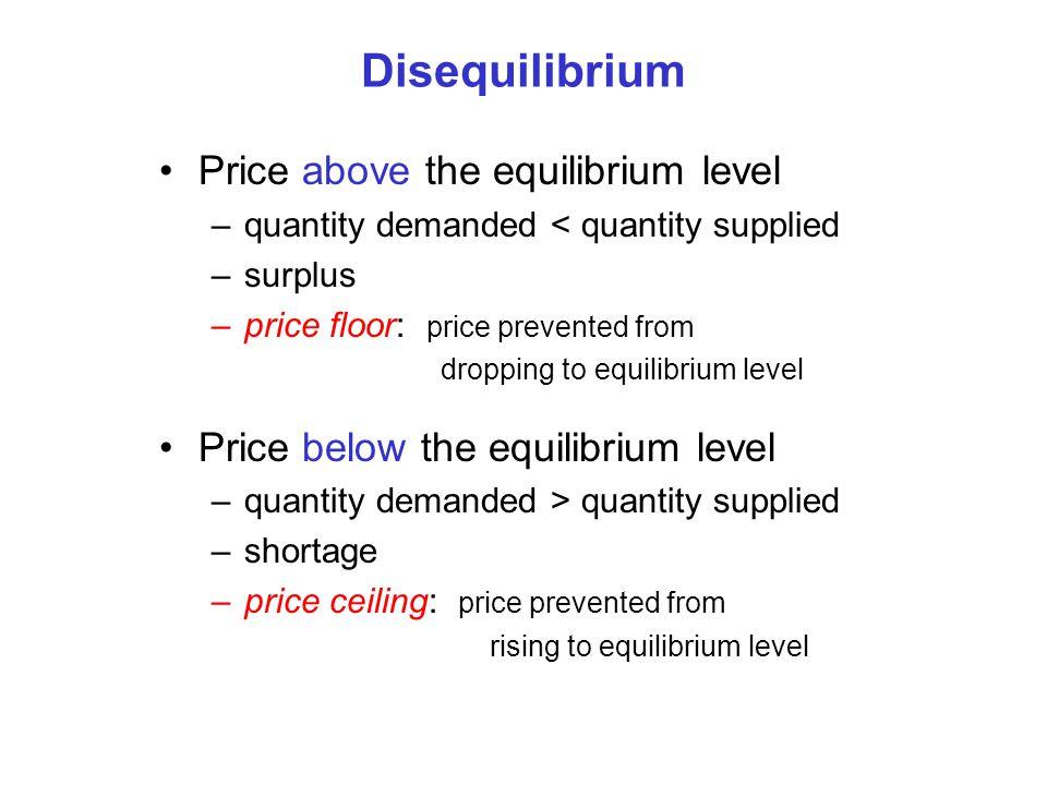 Disequilibrium Price above the equilibrium level –quantity demanded < quantity supplied –surplus –price floor: price prevented from dropping to equili