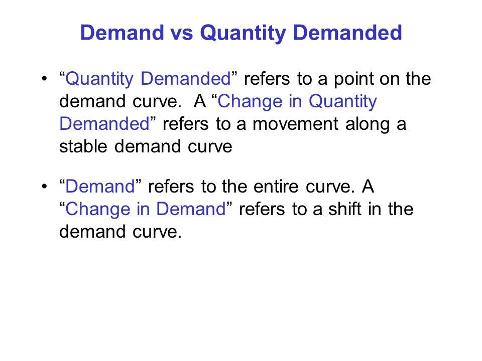 Demand vs Quantity Demanded Quantity Demanded refers to a point on the demand curve. A Change in Quantity Demanded refers to a movement along a stable