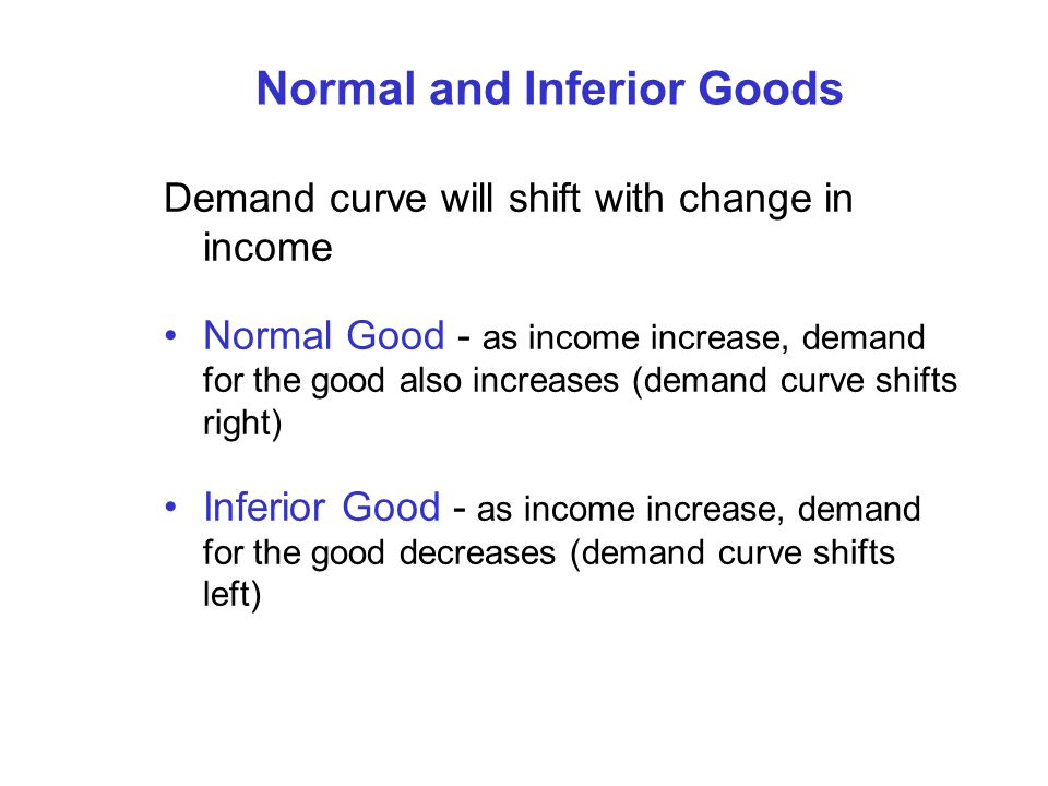 Normal and Inferior Goods Demand curve will shift with change in income Normal Good - as income increase, demand for the good also increases (demand c