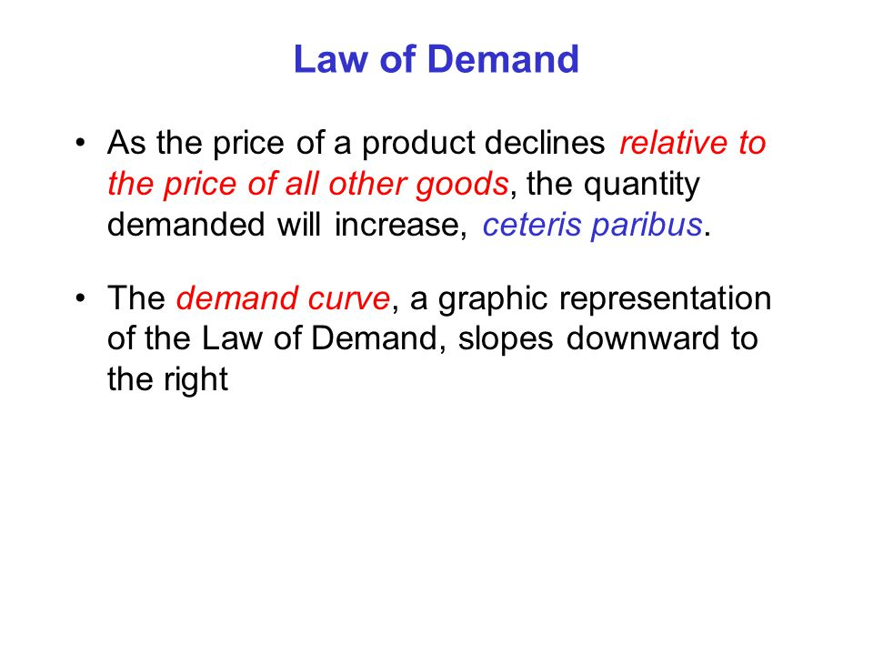 Change in Quantity Demanded As price declines the quantity demanded increases Demand A change in price results in a movement along a demand curve