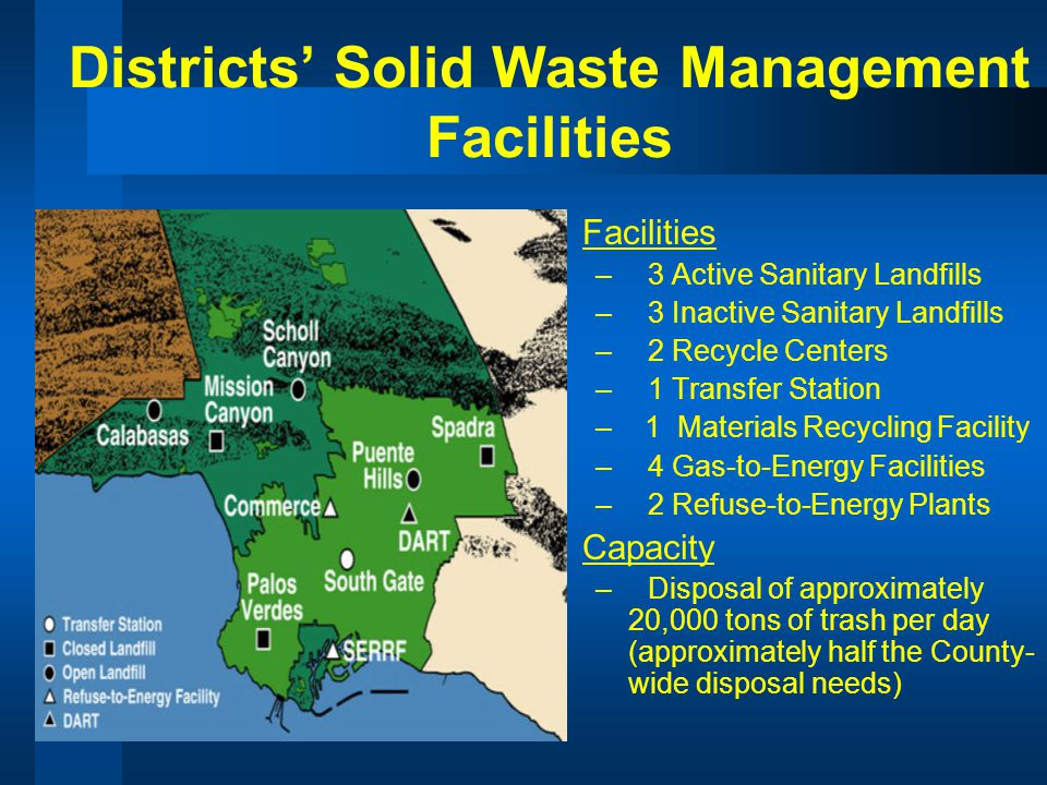 Districts Solid Waste Management Facilities Facilities –3 Active Sanitary Landfills –3 Inactive Sanitary Landfills –2 Recycle Centers –1 Transfer Station – 1 Materials Recycling Facility –4 Gas-to-Energy Facilities –2 Refuse-to-Energy Plants Capacity –Disposal of approximately 20,000 tons of trash per day (approximately half the County- wide disposal needs)