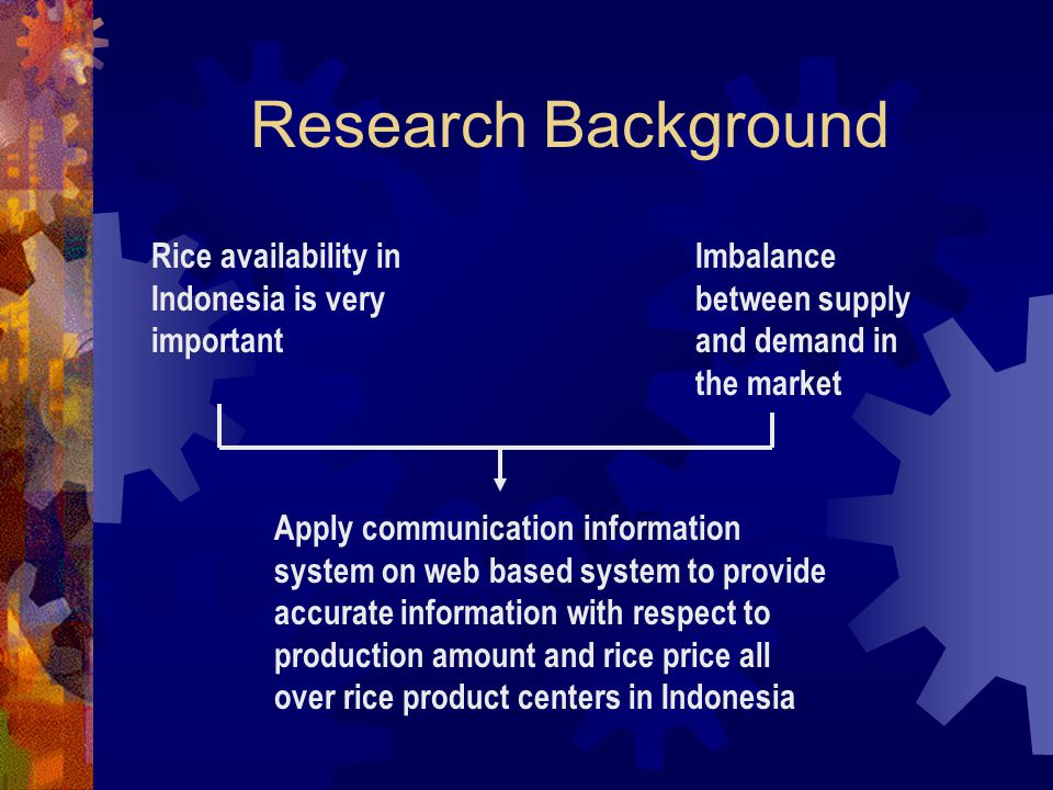 Research Background Rice availability in Indonesia is very important Imbalance between supply and demand in the market Apply communication information system on web based system to provide accurate information with respect to production amount and rice price all over rice product centers in Indonesia