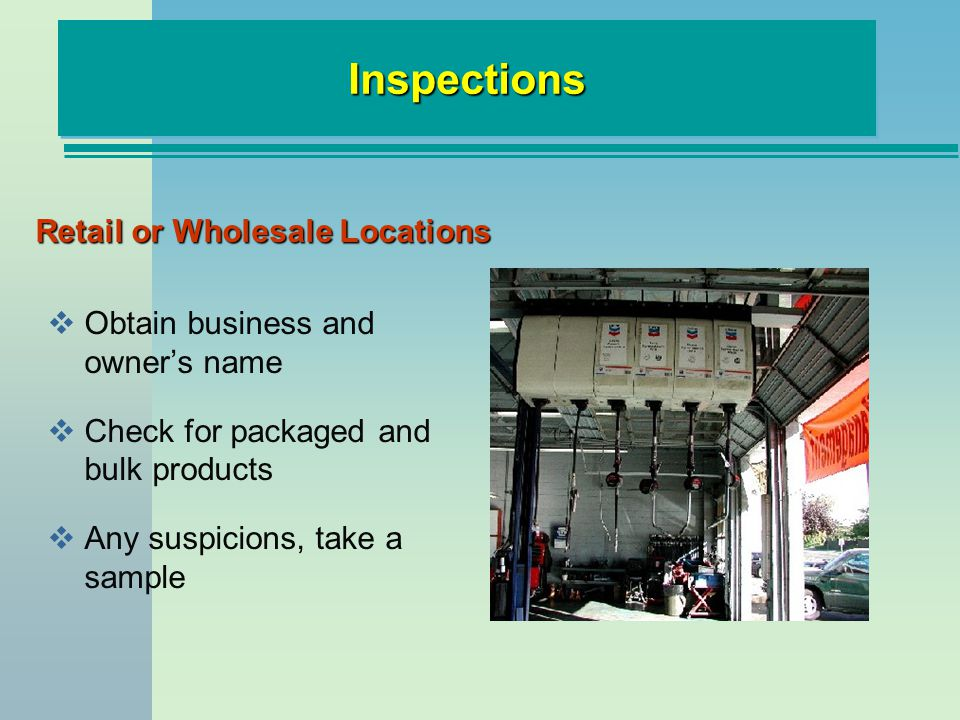 Retail or Wholesale Locations Obtain business and owners name Check for packaged and bulk products Any suspicions, take a sample InspectionsInspections