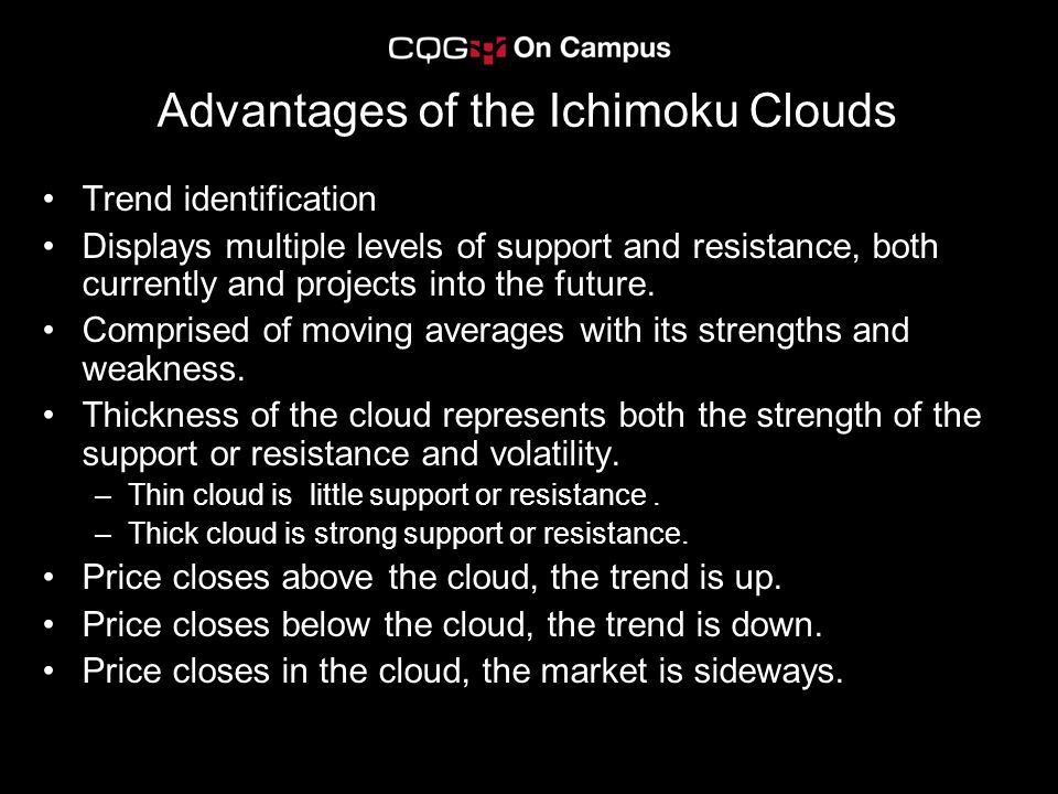 Advantages of the Ichimoku Clouds Trend identification Displays multiple levels of support and resistance, both currently and projects into the future.