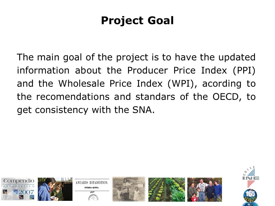 Project Goal The main goal of the project is to have the updated information about the Producer Price Index (PPI) and the Wholesale Price Index (WPI), acording to the recomendations and standars of the OECD, to get consistency with the SNA.