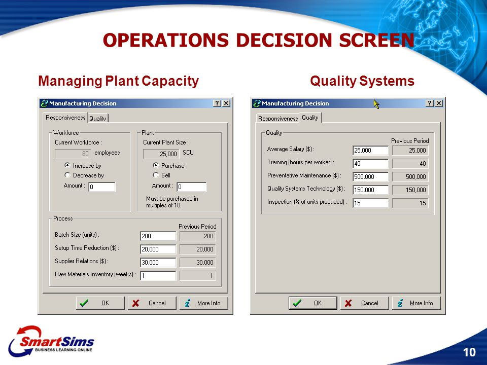10 OPERATIONS DECISION SCREEN Managing Plant Capacity Quality Systems