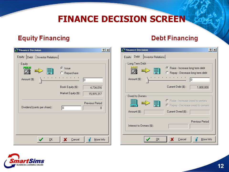 12 FINANCE DECISION SCREEN Equity Financing Debt Financing