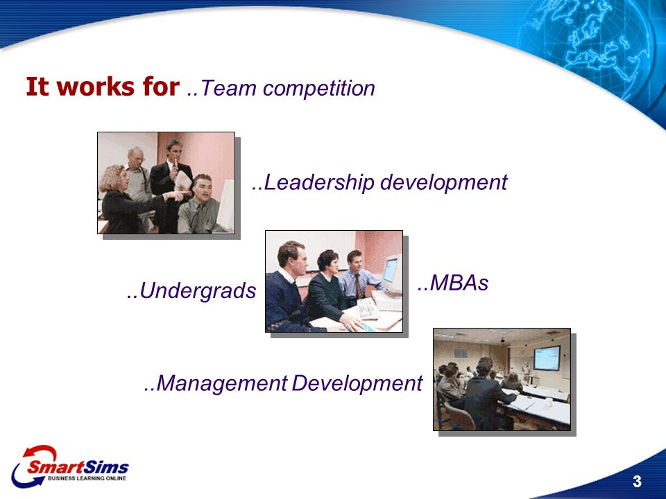 3 It works for..Team competition..Leadership development..Undergrads..MBAs..Management Development