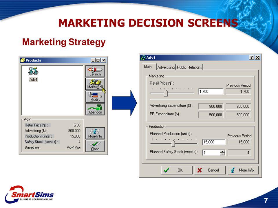 8 MARKETING DECISION SCREENS Advertising/PR Expenditure