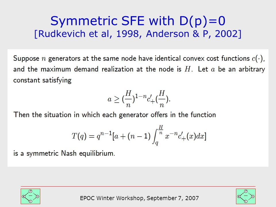 EPOC Winter Workshop, September 7, 2007 Symmetric SFE with D(p)=0 [Rudkevich et al, 1998, Anderson & P, 2002]