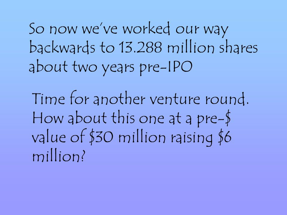 So now weve worked our way backwards to 13.288 million shares about two years pre-IPO Time for another venture round.