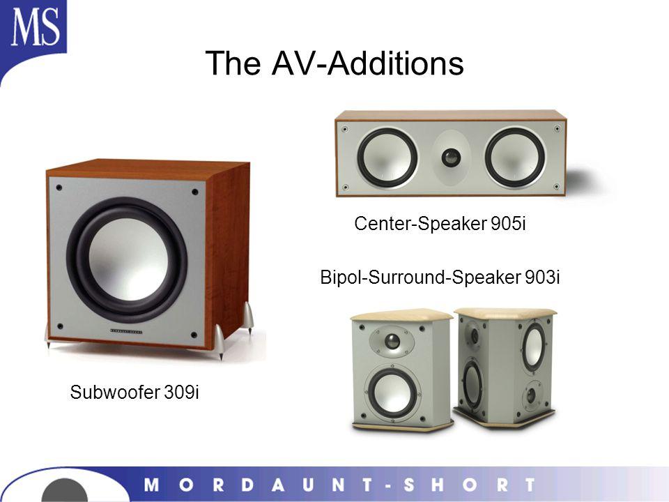 The AV-Additions Center-Speaker 905i Bipol-Surround-Speaker 903i Subwoofer 309i