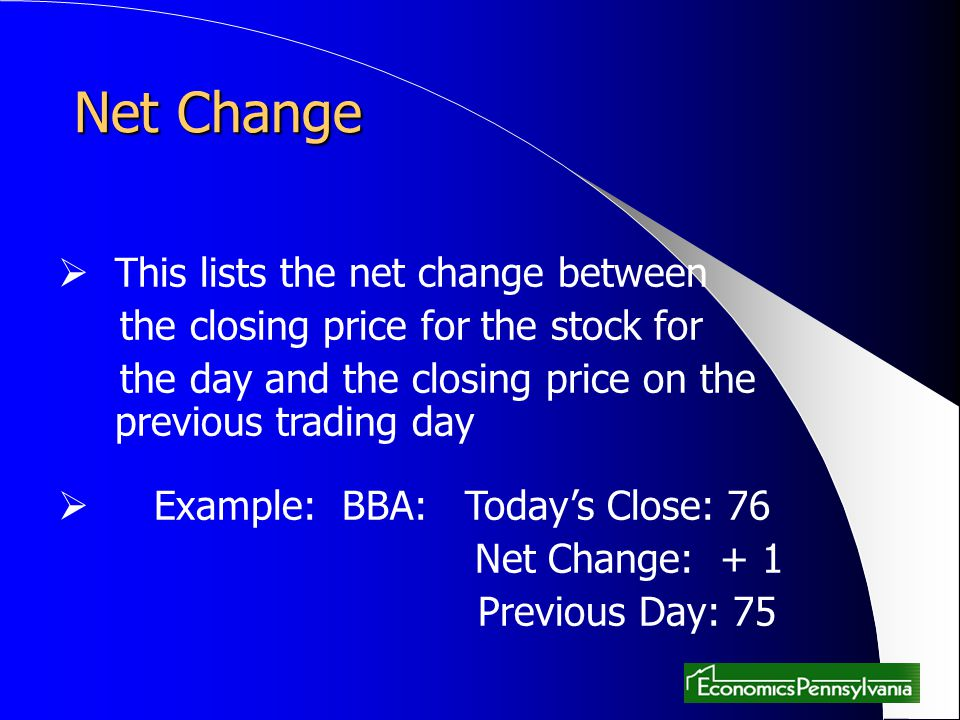 Net Change This lists the net change between the closing price for the stock for the day and the closing price on the previous trading day Example: BB