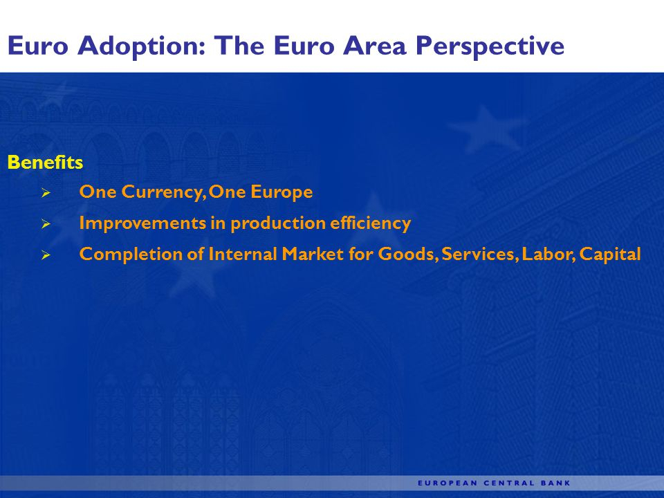 Euro Adoption: The Euro Area Perspective Benefits One Currency, One Europe Improvements in production efficiency Completion of Internal Market for Goods, Services, Labor, Capital