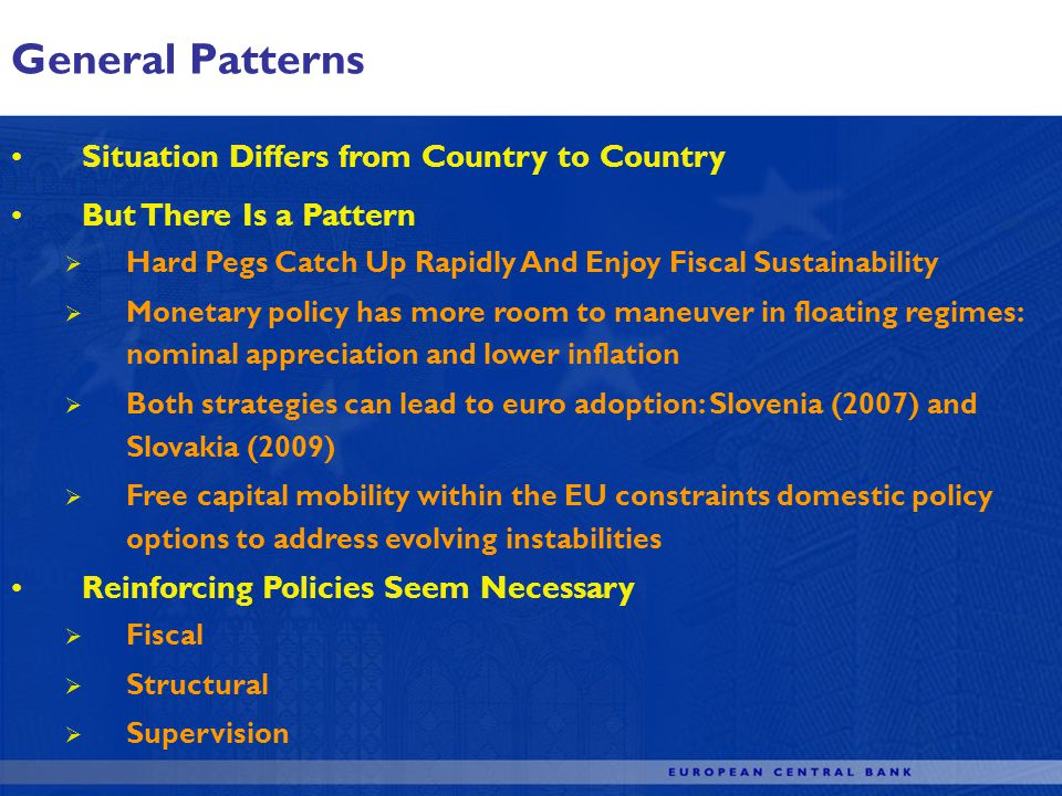 General Patterns Situation Differs from Country to Country But There Is a Pattern Hard Pegs Catch Up Rapidly And Enjoy Fiscal Sustainability Monetary policy has more room to maneuver in floating regimes: nominal appreciation and lower inflation Both strategies can lead to euro adoption: Slovenia (2007) and Slovakia (2009) Free capital mobility within the EU constraints domestic policy options to address evolving instabilities Reinforcing Policies Seem Necessary Fiscal Structural Supervision