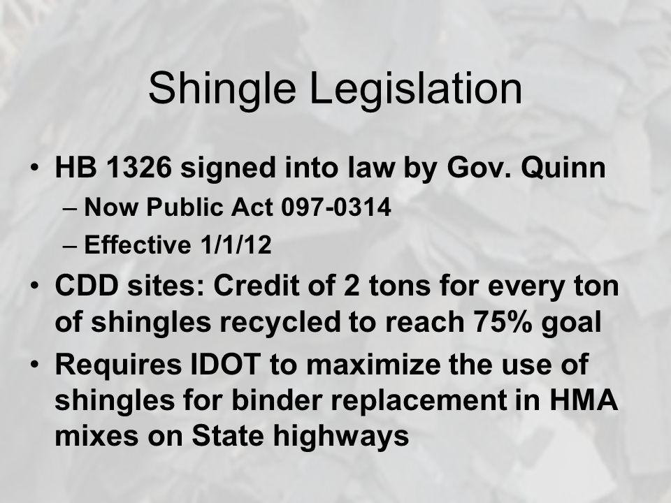 Shingle Legislation HB 1326 signed into law by Gov.