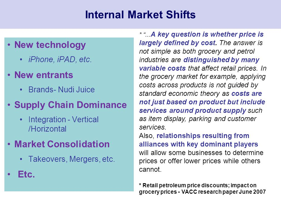Internal Market Shifts New technology iPhone, iPAD, etc.