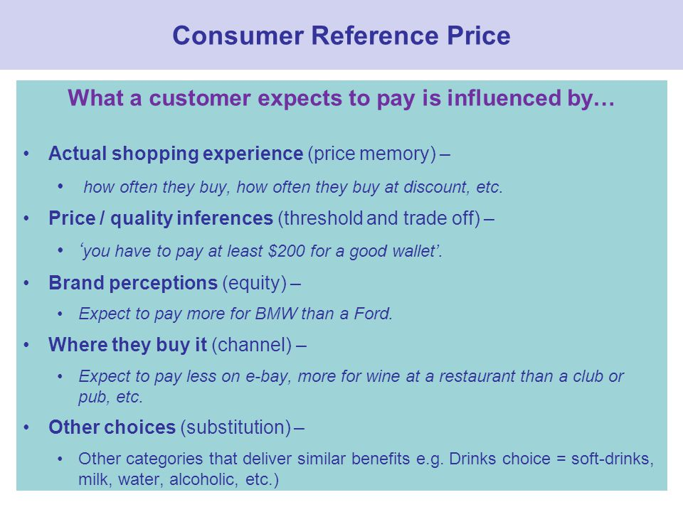 Consumer Reference Price What a customer expects to pay is influenced by… Actual shopping experience (price memory) – how often they buy, how often they buy at discount, etc.