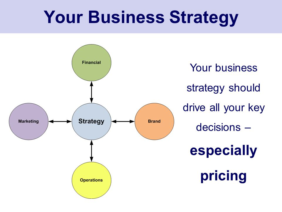Your Business Strategy Your business strategy should drive all your key decisions – especially pricing