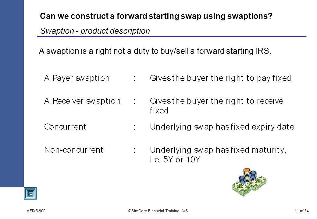 AFIX5-900©SimCorp Financial Training A/S11 af 54 Can we construct a forward starting swap using swaptions.