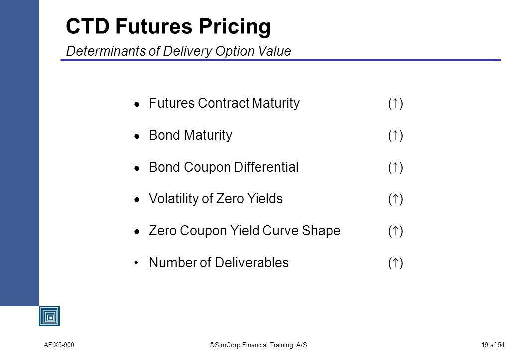 AFIX5-900©SimCorp Financial Training A/S19 af 54 CTD Futures Pricing Determinants of Delivery Option Value Futures Contract Maturity( ) Bond Maturity( ) Bond Coupon Differential( ) Volatility of Zero Yields( ) Zero Coupon Yield Curve Shape( ) Number of Deliverables( )