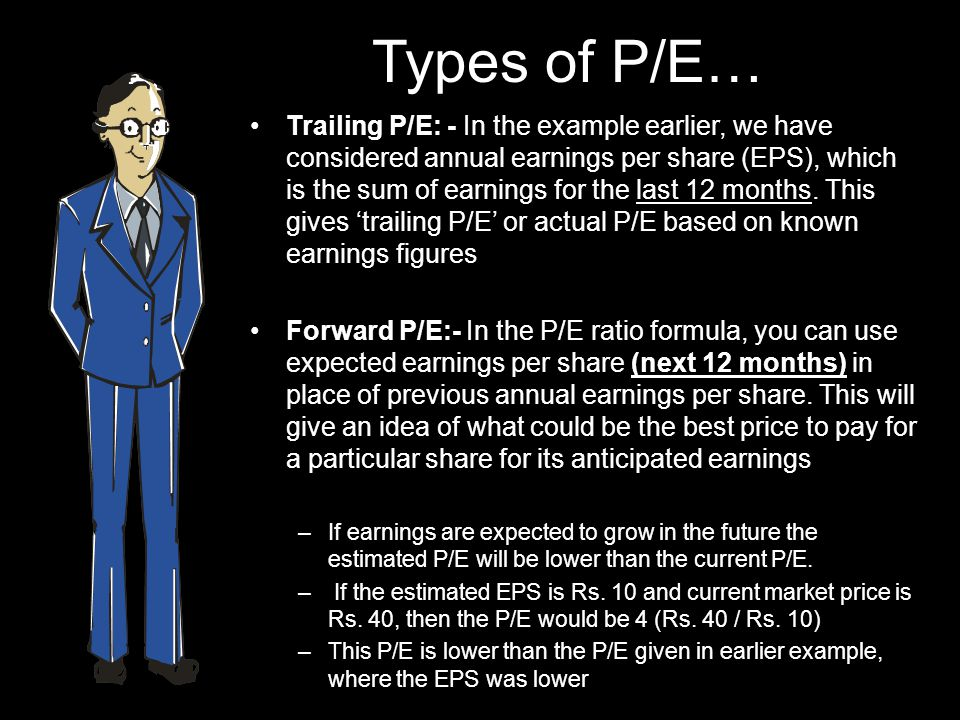 Types of P/E… Trailing P/E: - In the example earlier, we have considered annual earnings per share (EPS), which is the sum of earnings for the last 12 months.