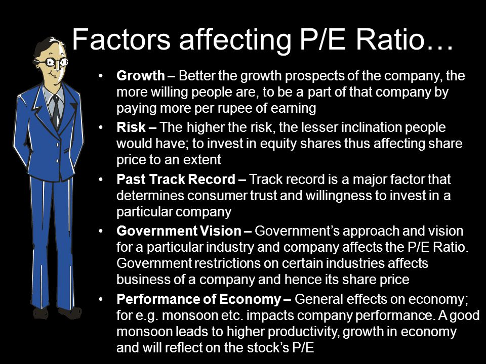 Factors affecting P/E Ratio… Growth – Better the growth prospects of the company, the more willing people are, to be a part of that company by paying