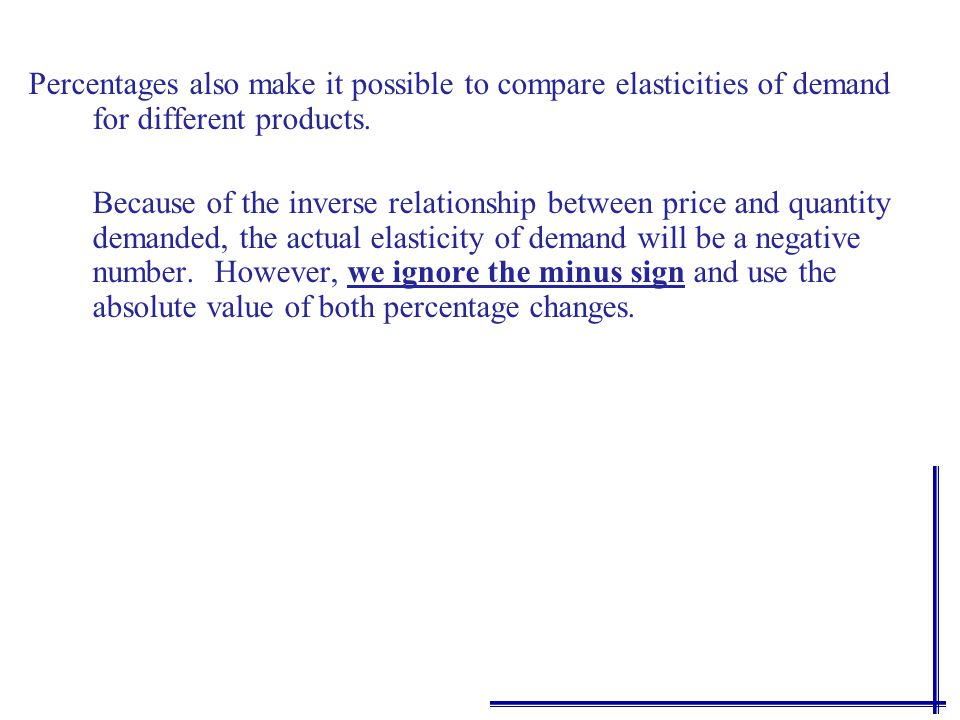 Interpretations of E d PRICE ELASTICITY OF DEMAND Elastic Demand εd =εd =.04.02 = 2 Inelastic Demand εd =εd =.01.02 =.5 Unit Elasticity εd =εd =.02 = 1