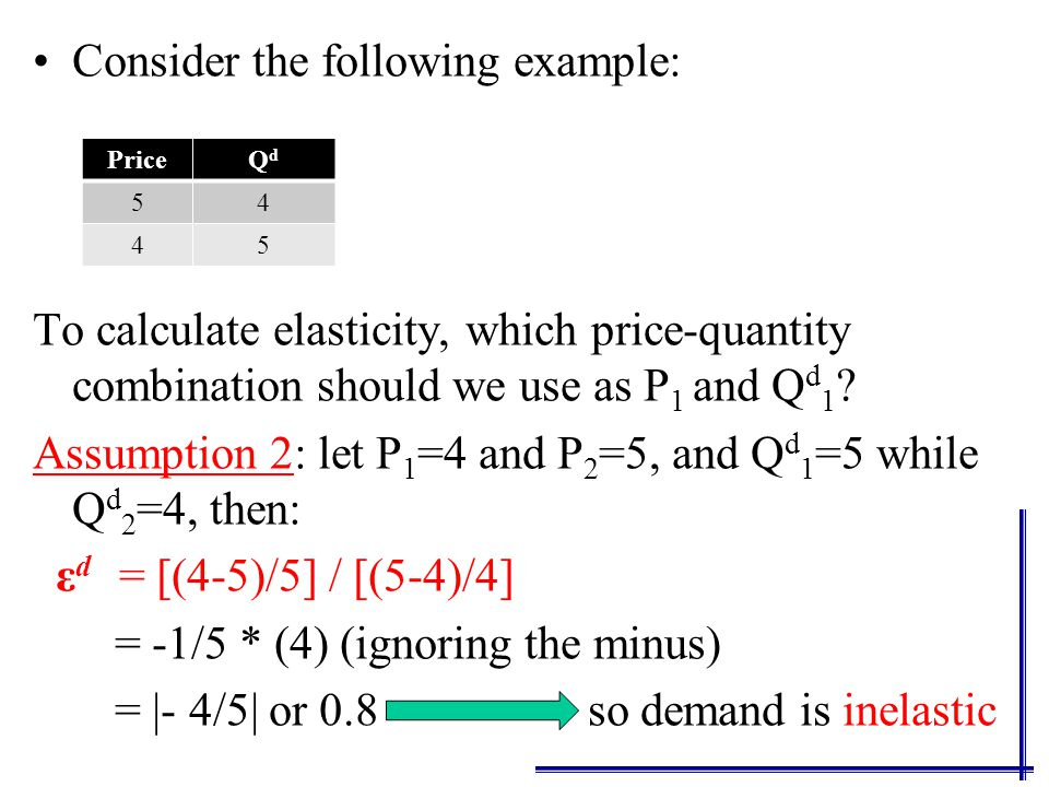 Consider the following example: To calculate elasticity, which price-quantity combination should we use as P 1 and Q d 1 .