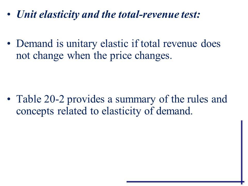 Inelastic demand and the total-revenue test: Demand is inelastic if a decrease in price results in a fall in total revenue, or an increase in price results in a rise in total revenue.