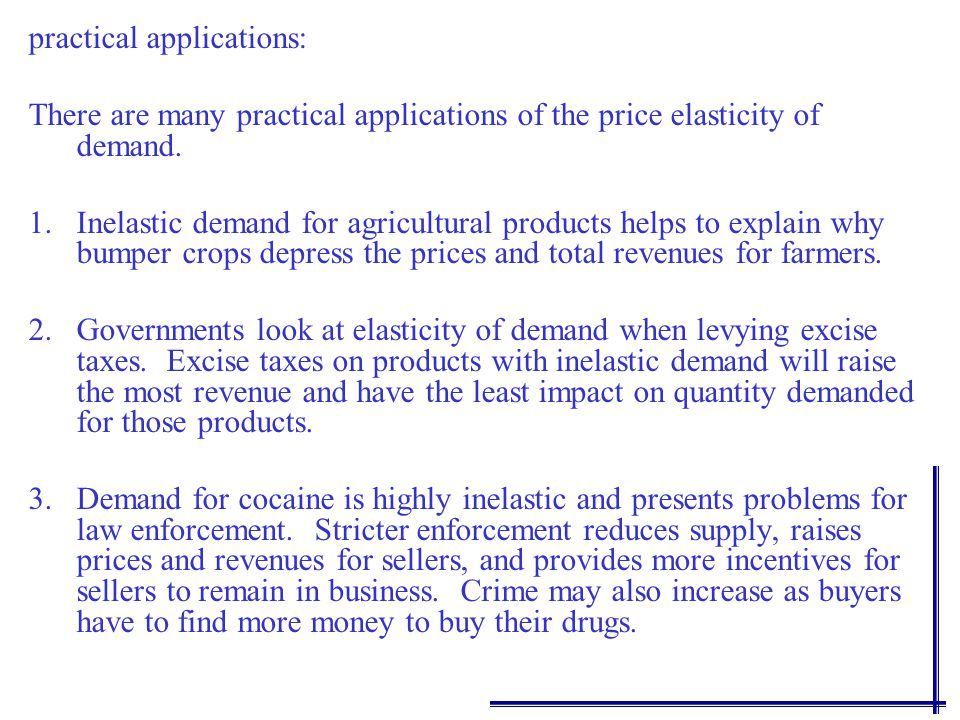 Determinants of Price Elasticity: There are several determinants of the price elasticity of demand. Substitutes for the product 1. Substitutes for the
