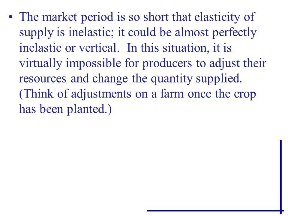 Time and elasticity of supply P P P Q Q Q Q o Q 1 QoQo Immediate market period SR LR Perfectly Inelastic Elastic More elastic Even more elastic response - less price increase