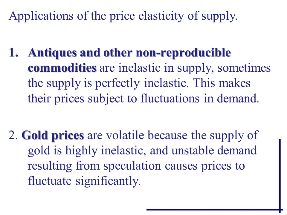 The short run supply elasticity is more elastic than the market period and will depend on the ability of producers to respond to price change.