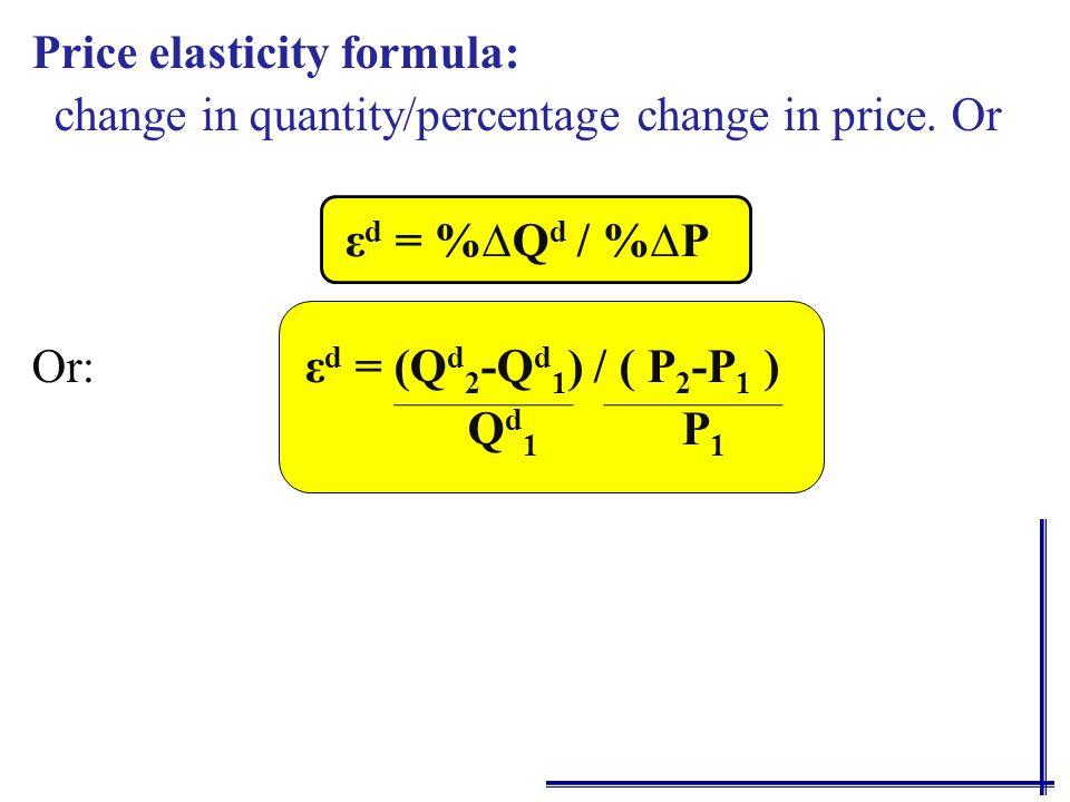 Price elasticity formula: change in quantity/percentage change in price.