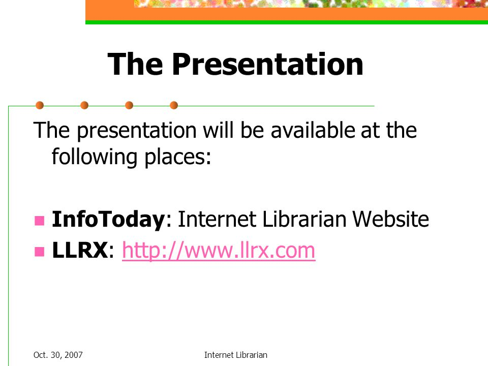 Oct. 30, 2007Internet Librarian Wireless iTMS
