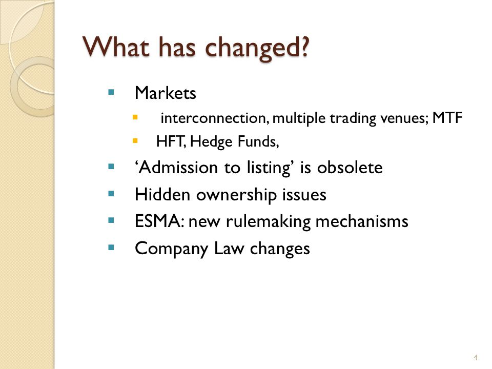 What has changed? Markets interconnection, multiple trading venues; MTF HFT, Hedge Funds, Admission to listing is obsolete Hidden ownership issues ESM