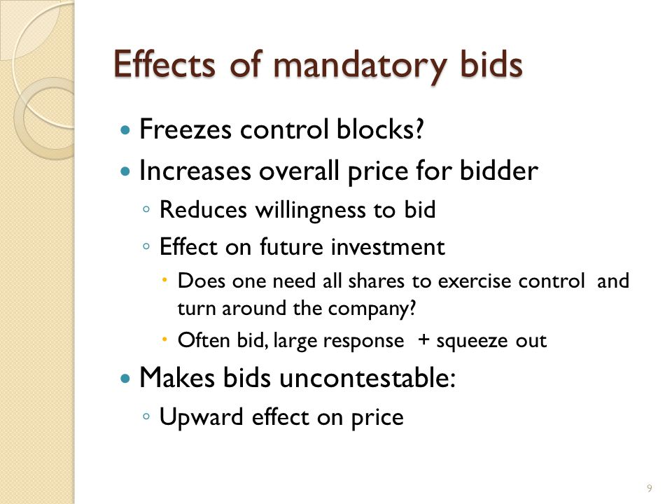 Effects of mandatory bids Freezes control blocks? Increases overall price for bidder Reduces willingness to bid Effect on future investment Does one n