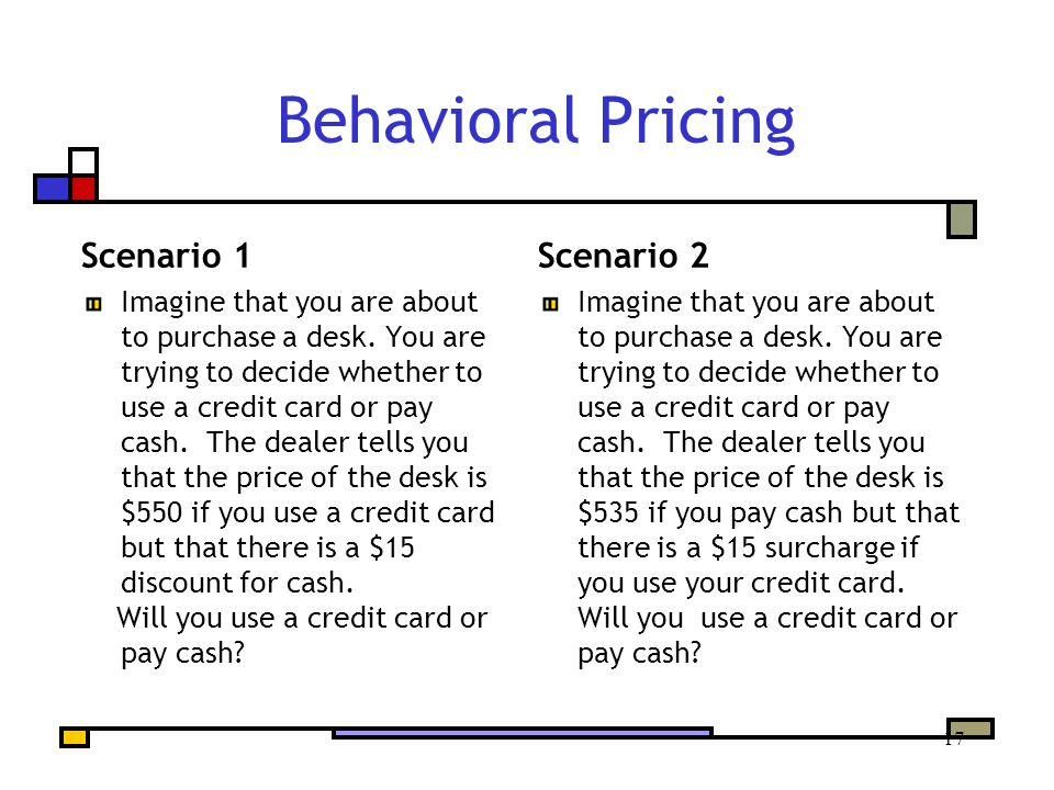17 Behavioral Pricing Scenario 1 Imagine that you are about to purchase a desk.