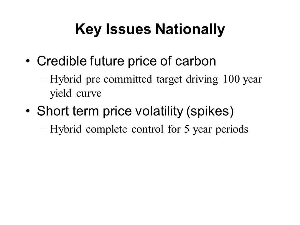Key Issues Nationally Credible future price of carbon –Hybrid pre committed target driving 100 year yield curve Short term price volatility (spikes) –Hybrid complete control for 5 year periods