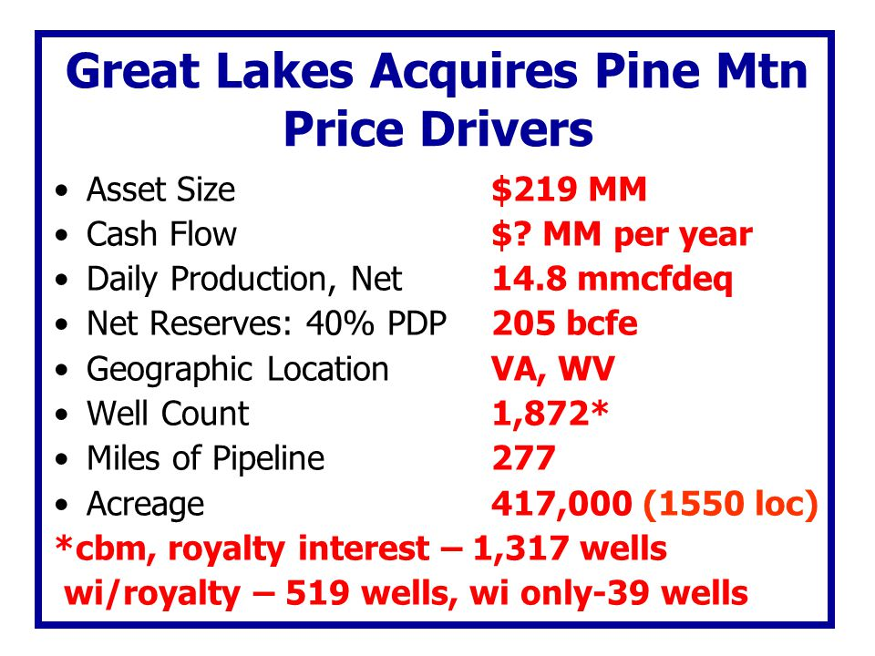 Great Lakes Acquires Pine Mtn Price Drivers Asset Size$219 MM Cash Flow $? MM per year Daily Production, Net14.8 mmcfdeq Net Reserves: 40% PDP205 bcfe