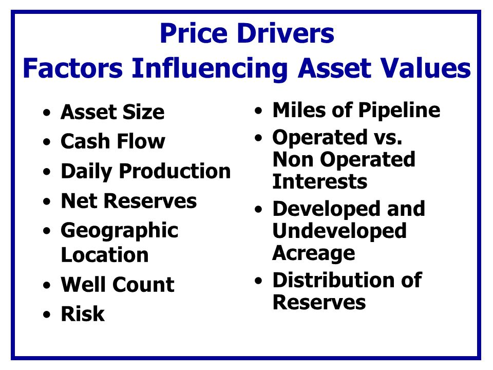 Price Drivers Factors Influencing Asset Values Asset Size Cash Flow Daily Production Net Reserves Geographic Location Well Count Risk Miles of Pipelin