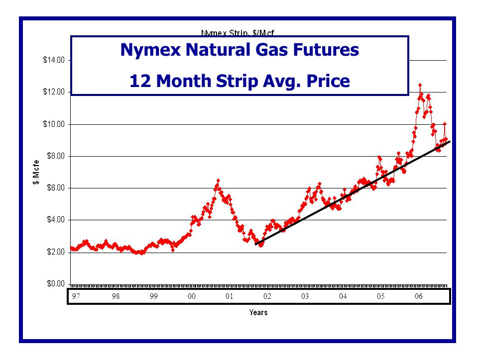 Nymex Natural Gas Futures 12 Month Strip Avg. Price 97 98 99 00 01 02 03 04 05 06